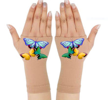 Load image into Gallery viewer, Gloves Arthritis  Hands - Arthritis Compression Gloves - Fingerless Compression Gloves  - Three Butterflies