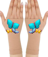 Load image into Gallery viewer, Gloves Arthritis  Hands - Arthritis Compression Gloves - Fingerless Compression Gloves -  Big Blue Butterfly