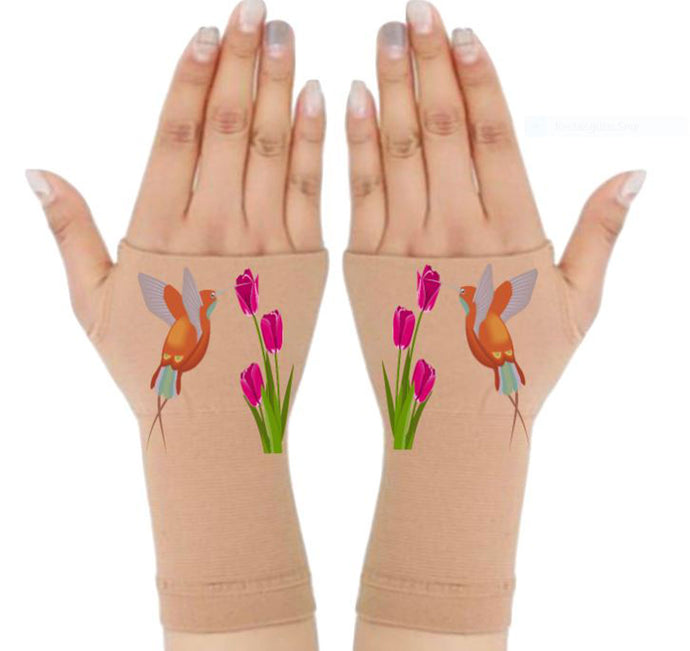 Gloves Arthritis  Hands - Arthritis Compression Gloves - Fingerless Compression Gloves - Hummingbird Tulip