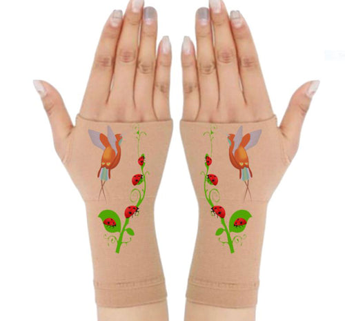 Gloves Arthritis  Hands - Arthritis Compression Gloves - Fingerless Compression Gloves  - HummingBird & LadyBug