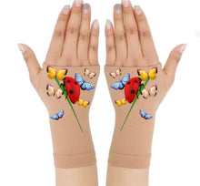 Load image into Gallery viewer, Gloves Arthritis  Hands - Arthritis Compression Gloves - Fingerless Compression Gloves - Ladybug & Friends