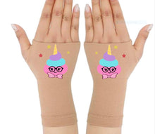 Load image into Gallery viewer, Gloves Arthritis  Hands - Arthritis Compression Gloves - Fingerless Compression Gloves - Poop Unicorn Pink