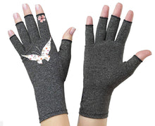 Load image into Gallery viewer, Fingerless Gloves - Arthritis Gloves -Wrist Warmers - Mittens - Stocking Stuffer - Carpal Tunnel Relief - Wrist Support - Butterfly Garden