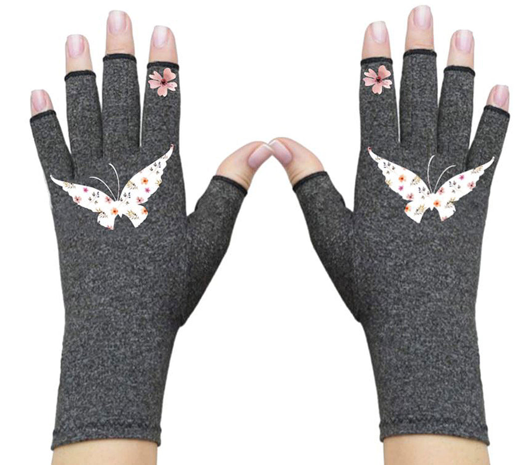 Fingerless Gloves - Arthritis Gloves -Wrist Warmers - Mittens - Stocking Stuffer - Carpal Tunnel Relief - Wrist Support - Butterfly Garden