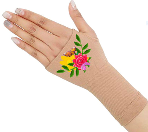 Fingerless Gloves - Arhritis Gloves -  Fingerless Mittens- Wrist Warmer- Gloves Women - Colorful Fingerless Gloves - Flower Garden