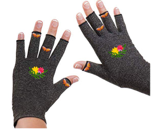 Fingerless Gloves - Arthritis Gloves -Wrist Warmers - Mittens - Carpal Tunnel Relief - Wrist Support - Flower Garden