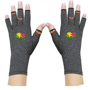 Fingerless Gloves - Arthritis Gloves -Wrist Warmers - Mittens - Stocking Stuffer - Carpal Tunnel Relief - Wrist Support - Flower Garden