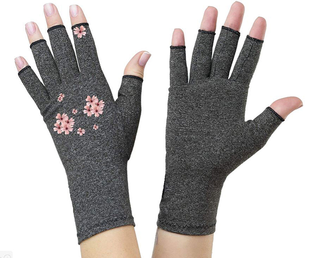 Fingerless Gloves - Arthritis Gloves -Wrist Warmers - Mittens - Stocking Stuffer - Carpal Tunnel Relief - Wrist Support -Pearl Flower