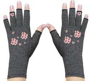 Fingerless Gloves - Arthritis Gloves -Wrist Warmers - Mittens - Carpal Tunnel Relief - Wrist Support -Pearl Flower