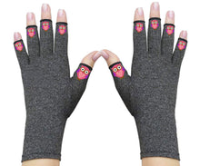 Load image into Gallery viewer, Fingerless Gloves - Arthritis Gloves -Wrist Warmers - Mittens - Carpal Tunnel Relief - Wrist Support - Pink Owls