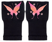 Load image into Gallery viewer, Fingerless Gloves - Arthritis Gloves -Wrist Warmers - Mittens - Stocking Stuffer - Carpal Tunnel Relief - Wrist Support - Rainbow Butterfly