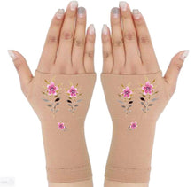 Load image into Gallery viewer, Fingerless Gloves Women Arthritis Gloves - Carpal Tunnel Gloves - Wrist Wraps Compression Gloves - Wild Flower