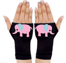 Load image into Gallery viewer, Fingerless Gloves & Wrist Support  Arthritis -  Carpal Tunnel Treatment - Pink Elephant