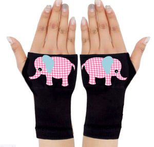 Fingerless Gloves & Wrist Support  Arthritis -  Carpal Tunnel Treatment - Pink Elephant