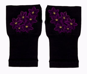 Fingerless Gloves & Wrist Support for  Arthritis  & Carpal Tunnel Treatment - Purple Bouquet