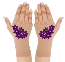 Load image into Gallery viewer, Fingerless Gloves & Wrist Support for  Arthritis  & Carpal Tunnel Treatment - Purple Bouquet