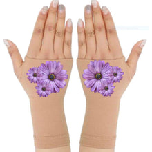 Load image into Gallery viewer, Arthritis Gloves - Carpal Tunnel Treatment - Wrist Support - Hand Brace - Purple Daisies