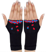 Load image into Gallery viewer, Fingerless Gloves - Arhritis Gloves -  Fingerless Mittens- Wrist Warmer- Gloves Women - Colorful Fingerless Gloves - Hearts