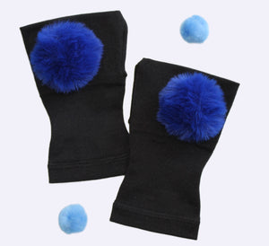 Arthritis  Gloves - Carpal Tunnel Treatment - Wrist Support - Hand Brace - Fur Ball Royal Blue Pair