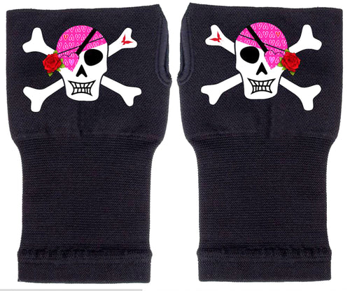 Fingerless Gloves - Arhritis Gloves -  Fingerless Mittens- Wrist Warmer- Gloves Women - Colorful Fingerless Gloves - Sassy Skull