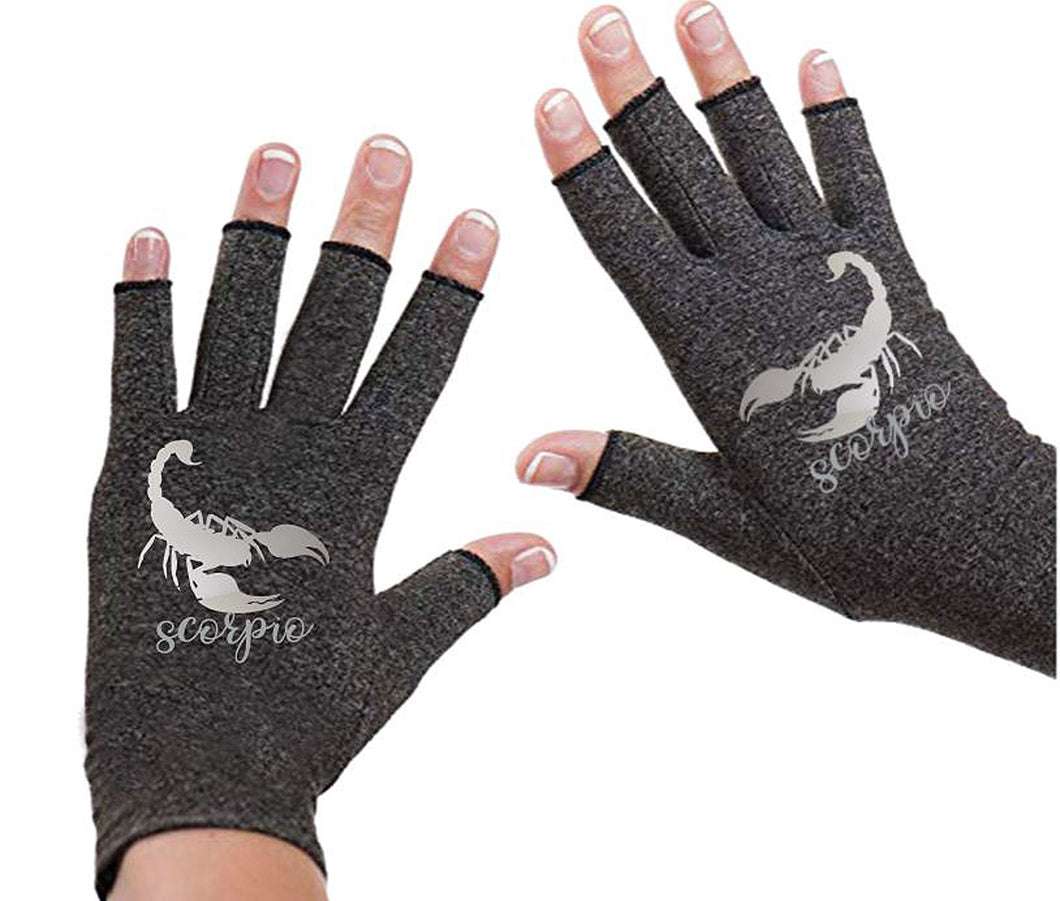 Scorpio Zodiac Fingerless Gloves for Arthritis - Arthritis Gloves with Compression - Wrist Wrap - Wrist Support - Arthritis Relief