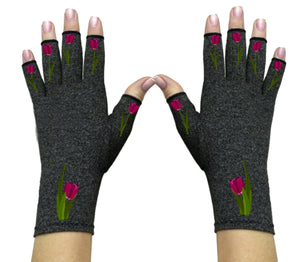 Fingerless Gloves for Arthritis - Arthritis Gloves with Compression - Wrist Wrap - Tulip