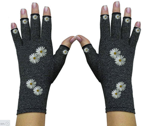 Fingerless Gloves for Arthritis - Arthritis Gloves with Compression - Wrist Wrap - Two Daisies