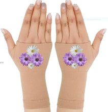Load image into Gallery viewer, Arthritis Gloves - Carpal Tunnel Treatment - Wrist Support - Hand Brace - White Purple Daisies