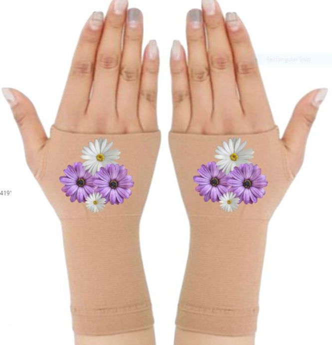 Arthritis Gloves - Carpal Tunnel Treatment - Wrist Support - Hand Brace - White Purple Daisies