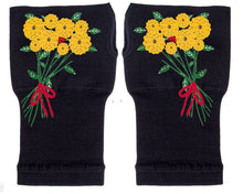 Load image into Gallery viewer, Fingerless Gloves - Arhritis Gloves -  Fingerless Mittens- Wrist Warmer- Gloves Women - Colorful Fingerless Gloves -Yellow Flowers
