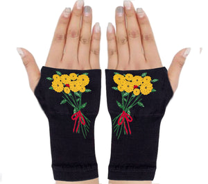 Fingerless Gloves - Arhritis Gloves -  Fingerless Mittens- Wrist Warmer- Gloves Women - Colorful Fingerless Gloves -Yellow Flowers