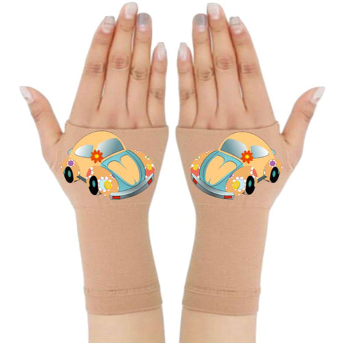 Fingerless Gloves & Wrist Support  Arthritis -  Carpal Tunnel Treatment - Yellow Beetle