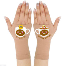 Load image into Gallery viewer, Gloves Arthritis  Hands - Arthritis Compression Gloves - Fingerless Compression Gloves - No & Yummy Coffee Emoji