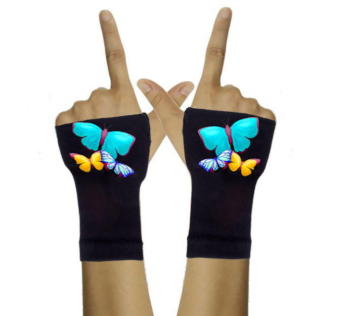 Arthritis  Gloves - Carpal Tunnel Treatment - Wrist Support - Hand Brace - Big Blue Butterfly