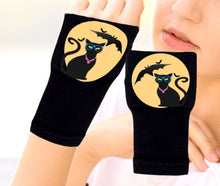 Load image into Gallery viewer, Halloween Arthritis  Gloves -  Wrist Support Carpal Tunnel Relief - Cat Yellow Moon