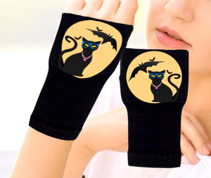 Halloween Arthritis  Gloves -  Wrist Support Carpal Tunnel Relief - Cat Yellow Moon