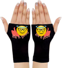 Load image into Gallery viewer, Gloves Arthritis  Hands - Arthritis Compression Gloves - Fingerless Compression Gloves  - Life Is Good Emoji