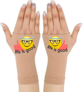 Gloves Arthritis  Hands - Arthritis Compression Gloves - Fingerless Compression Gloves  - Life Is Good Emoji