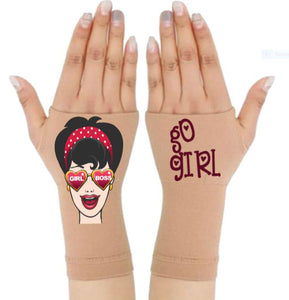 Gloves Arthritis  Hands - Arthritis Compression Gloves - Fingerless Compression Gloves - Girl Boss