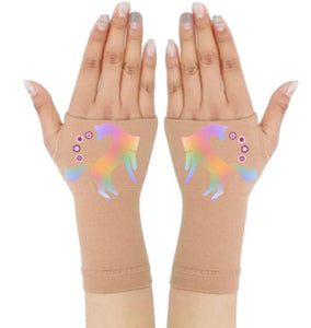 Arthritis  Gloves - Carpal Tunnel Treatment - Wrist Support - Hand Brace -Rainbow Unicorn