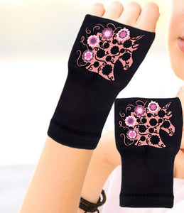 Gloves Arthritis  Hands - Arthritis Compression Gloves - Fingerless Compression Gloves - Peach Unicorn