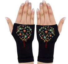 Load image into Gallery viewer, Fingerless Gloves - Arhritis Gloves -  Fingerless Mittens- Wrist Warmer- Gloves Women - Tree of Life