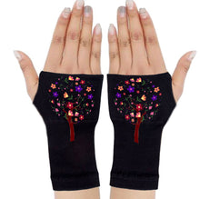 Load image into Gallery viewer, Fingerless Gloves - Arhritis Gloves -  Fingerless Mittens- Wrist Warmer- Gloves Women - Tree of Life Multi