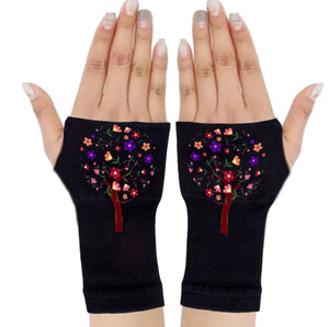 Fingerless Gloves - Arhritis Gloves -  Fingerless Mittens- Wrist Warmer- Gloves Women - Tree of Life Multi