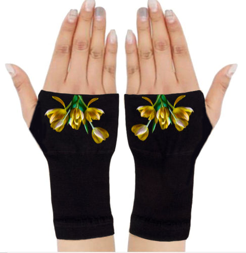Arthritis  Gloves - Carpal Tunnel Treatment - Wrist Support - Hand Brace - Yellow Tulips