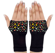 Load image into Gallery viewer, Fingerless Gloves - Arhritis Gloves -  Fingerless Mittens- Wrist Warmer- Gloves Women - Colorful Fingerless Gloves - Bed of Flowers