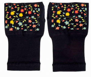 Fingerless Gloves - Arhritis Gloves -  Fingerless Mittens- Wrist Warmer- Gloves Women - Colorful Fingerless Gloves - Bed of Flowers