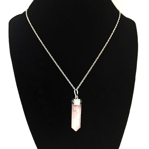 Rose Quartz Cylinder Necklace