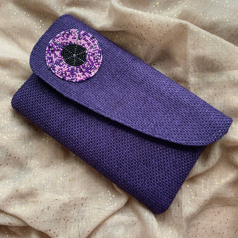 Purple Sisal Bead Purse