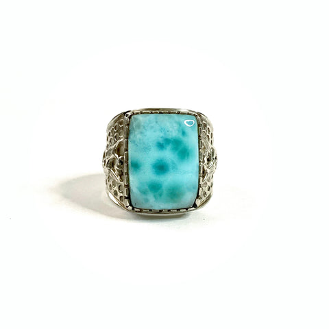 Larimar Dragon Ring 031 (size 12.5)